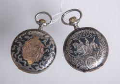 Konvolut von 2 Herrentaschenuhren aus Silber, je in Niello-Technik