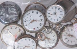 Konvolut von 9 Taschenuhren, meist 800 Silber