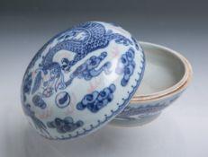 Deckeldose aus Porzellan (China, Alter unbekannt)