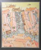 """Unbekannter Künstler (wohl Anfang 20. Jh.), wohl """"Das Schiff kam an"""" / Straßenansicht m. Blick auf H"""