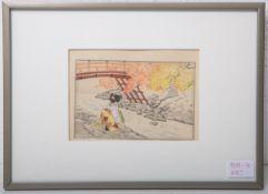 Unbekannter Künstler (Japan, Alter unbekannt), Geisha am Fluss