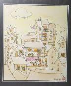 Unbekannter Künstler (wohl Anfang 20. Jh.), Blick auf die Häuser m. Personenstaffage