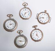 Konvolut von 5 Damentaschenuhren 800 Silber