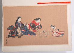 Unbekannter Künstler (Japan, Alter unbekannt), 3 Geishas beim Karten spielen