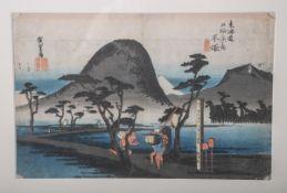 """Hiroshige, Ando (1797 - 1858), """"Hiratsuka: Nawate Road"""", aus der Serie """"53 Stationen der Tokaido"""""""