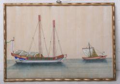 Unbekannter Künstler (Japan, Alter unbekannt), Darst. eines Fischkutters u. eines Segelbootes