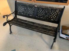 Park Bench, Iron Frame, Missing Slat