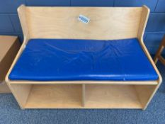 Child Wood Bench w/Cushion - Library