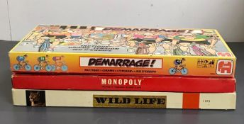 A selection of three vintage board games to include, Monopoly, Wildlife and Demarrage