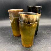 A Set of six horn cups.