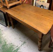 A Pine Farmhouse Table with Cutlery drawer (H 78 cm x W 152 cm x D 90 cm)