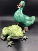 A china duck and a frog