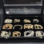 A Selection of Twelve pearl necklaces, one AF, various styles and ages.
