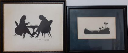 A pair of miniature Silhouettes by Elizabeth Baverstock.