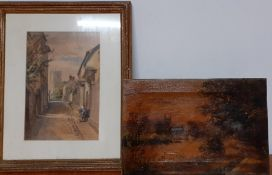A 19th century pair of views with chirch, oil on canvas and a watercolour, unsigned, (20x30 cm