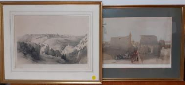 """A pair of prints after David Roberts RA (1796-1864), """"Jerusalem"""" and """"Luxor"""", framed and glazed ("""