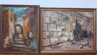 A 20th century Occidental school, 'Gathering by the wailing wall' and 'Street of Jerusalem' (