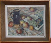 A 20th century English school, 'Still life with apples and books', unsigned, oil on panel, framed (