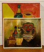 """A pair of 20th century mixed media signed """"Gulu"""", framed by the artist (62x52 cm largest). (2)"""