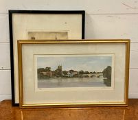 """A pair of prints, """"Henley on Themes"""" and """"Bruges"""", framed and glazed (16x34 cm largest). (2)"""