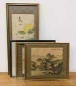 A group of four Chinese silk paintings, depicting landscapes and flowers and framed with brocade