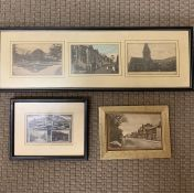 A group of old postcards depicting street views, framed and glazed, (10x14 cm largest). (3)
