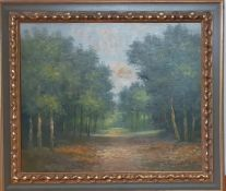 A 20th century English school, 'A path in the woods', illegibly signed (Weber?) lower right, oil