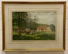 James Thomas Watts R.C.A., R.B.S.A. (1853-1930) British, 'View of a farm with cattle', signed