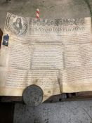 """A 18th century manuscript, probably an """"Exmplification of Common Recovery"""" on vellum with a large"""