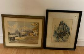 """A 20th century French school watercolour, """"Notre-Dame of Paris from the Seine"""", signed: 'Marc',"""