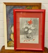 """A pair of 20th century mixed media signed """"Gulu"""", framed by the artist (65x49 cm largest). (2)"""