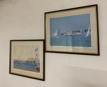 """A pair of prints, """"The Royal visit 1907"""" and """"Waveeley off Pencrete"""" (?), signed, titled and"""