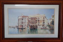 After Federico del Campo (1837-1923) Peruvian, 'Ca' d'Oro, Venice', a colour lithograph, framed