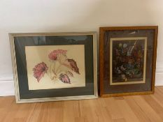 A pair of prints with floral compositions, framed and glazed, (27x36 cm largest). (2)