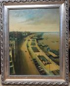 A 20th century Chinese school, 'City View', signed 'W.T.Chen' lower right, oil on canvas, framed, (