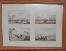 A group of four prints depicting scenes during a rhinos hunt, within a wooden frame and glazed, (