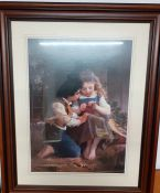 After Émile Munier (1840-1895) French, A Special Moment, a large coloured print within a wooden