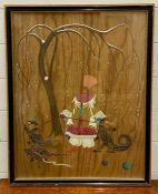 A mixed media on panel signed Katrina kaufman lower left, framed and glazed, (60x46 cm).