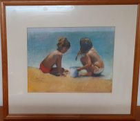 John Sutherst (act.XX) English, 'Kids playing on the beach', signed and dated 1990, [pastel on