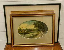 A pair of lake landscapes, one signed: 'J.Lewis', framed and glazed. (2)