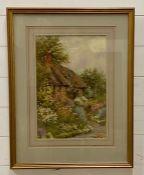 "John Abernethy Lynas-Gray (1869-c.1940) British, ""Cottage garden at Normans Heath (salop)"","