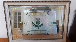 A vintage Bill's Bar advertising mirror, within a white and parcel gilded frame (47x67 cm approx.).
