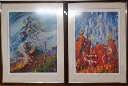 A 20th century school, a pair of prints, illegibly signed and numbered, framed and glazed, (57x40