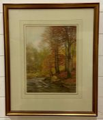 """James Thomas Watts R.C.A., R.B.S.A. (1853-1930) British, """"Birches and beeches by the Conway"""", signed"""