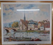 """Jacques Bouyssou (1926-1997) French, """"Le pont de Sens"""", a print signed and numbered 38/385, framed"""