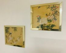 A pair of Chinese hand painted Roller birds on textile (silk?), signed with Сhinese characters and