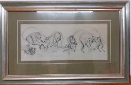 Tom Merrifield (b.1932) Australian, a pair of prints depicting 'Cats playing' and 'Pierrot