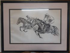 Norman Hoad (1923-2014) British Air Vice-Marshal, Study of two racehorses jumping, signed lower