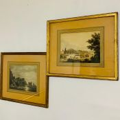 A pair of 18th century hand coloured prints, 'A port in the moonlight' and 'Travellers and