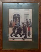 """After Laurence Stephen Lowry RBA RA (1887-1976) English, """"A Fight"""", a print following the original"""